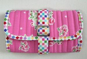 Tyg- och Materialpaket till Stash & Dash, rosa med gröna kanter