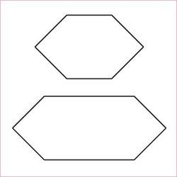 """Avlånga hexagoner, ½"""", skärmall"""